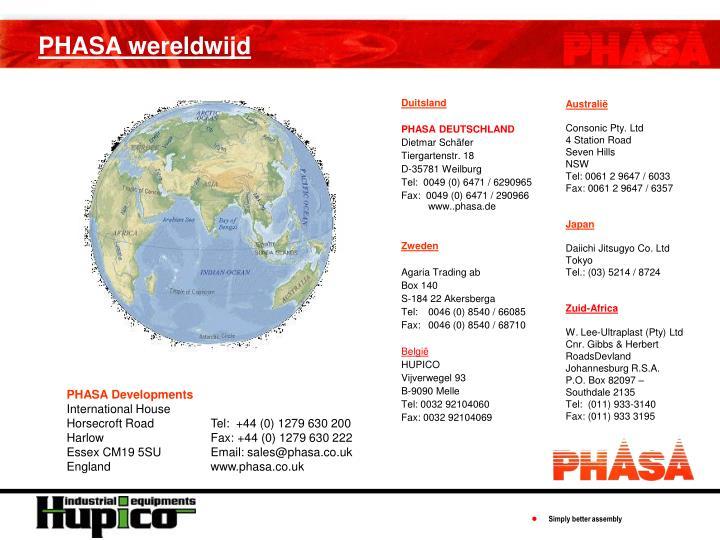 PHASA wereldwijd