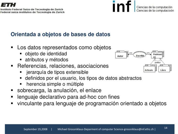 Orientada a objetosde bases de datos