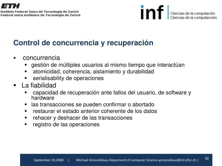 Control de concurrenciay recuperación