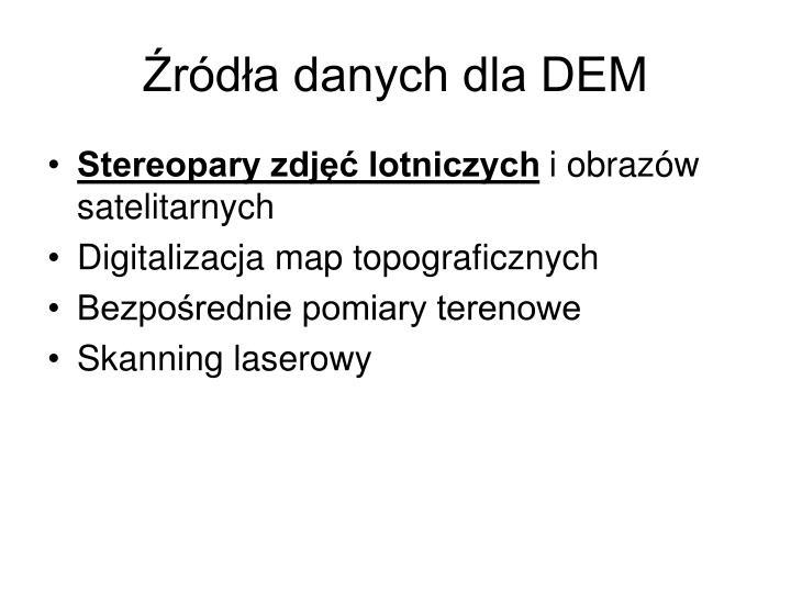 Źródła danych dla DEM