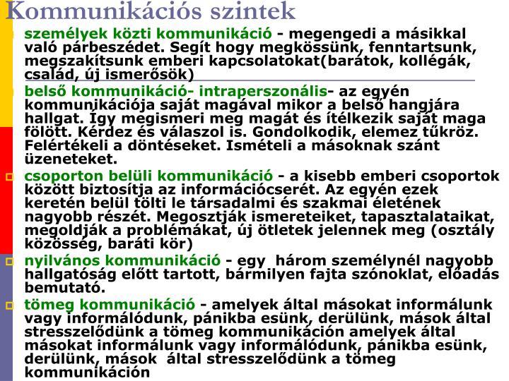 Kommunikációs szintek
