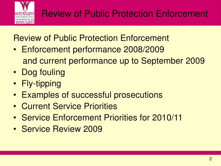 Review of public protection enforcement
