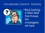 vocabulary used in mystery1