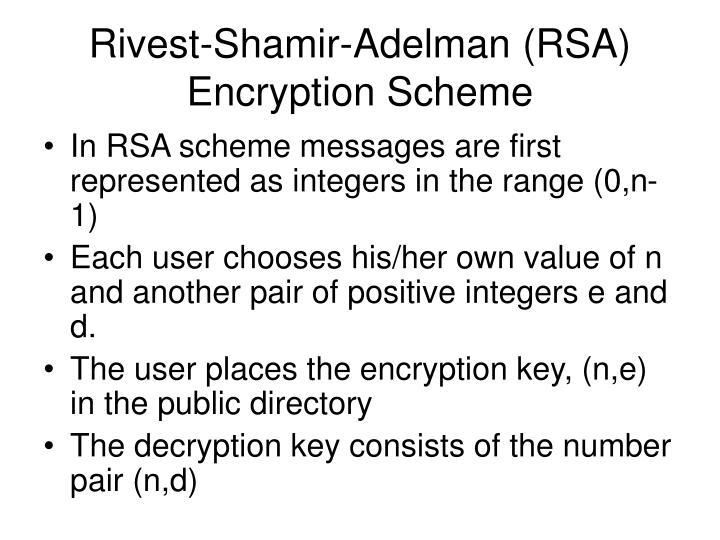 Rivest-Shamir-Adelman (RSA) Encryption Scheme