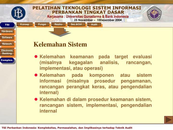 Kelemahan Sistem