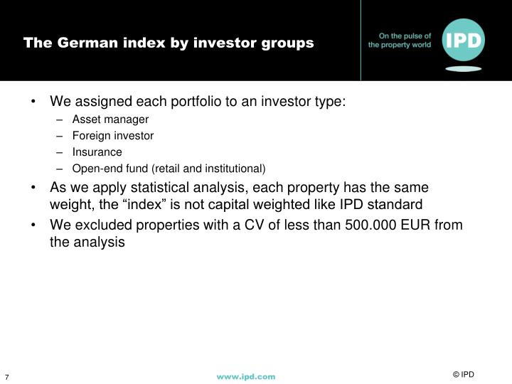 The German index by investor groups
