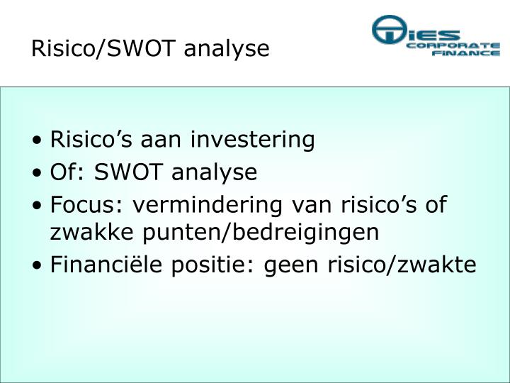 Risico/SWOT analyse