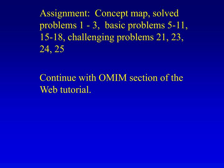 Assignment:  Concept map, solved problems 1 - 3,  basic problems 5-11, 15-18, challenging problems 21, 23, 24, 25