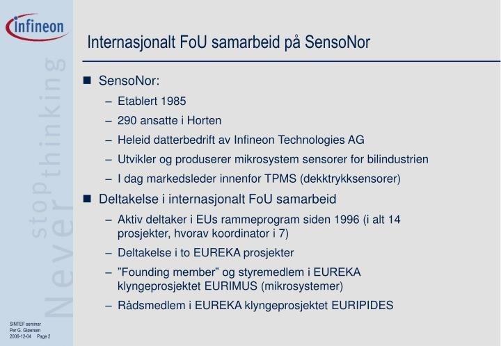 Internasjonalt FoU samarbeid på SensoNor