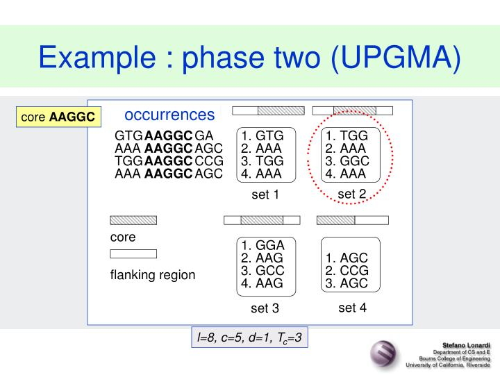Example : phase two (UPGMA)