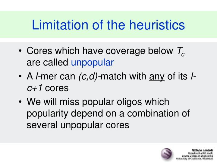 Limitation of the heuristics