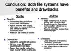 conclusion both file systems have benefits and drawbacks