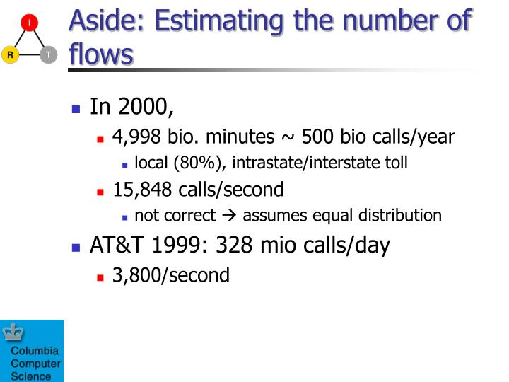 Aside: Estimating the number of flows