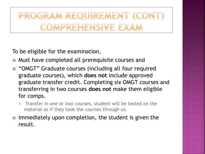 Program Requirement (CONT)