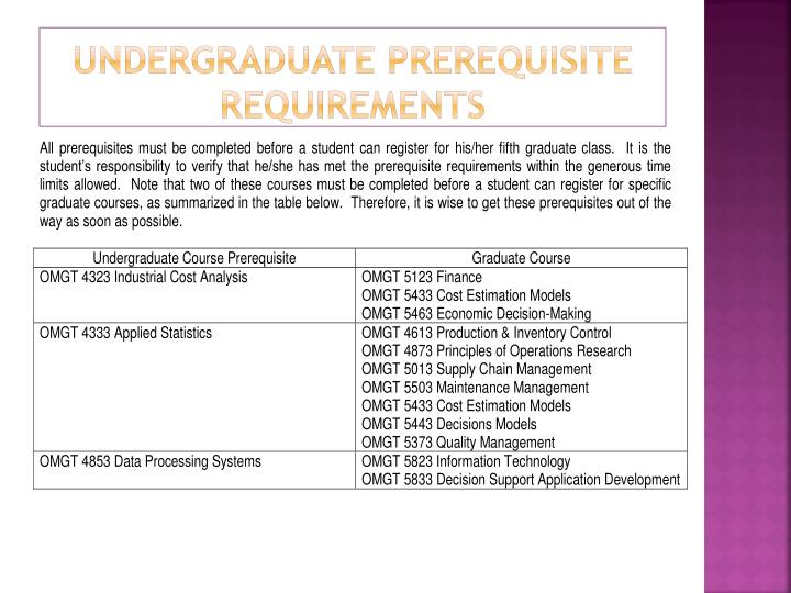 Undergraduate prerequisite requirements