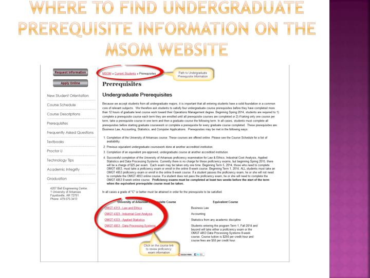 Where to Find Undergraduate Prerequisite Information on the MSOM Website