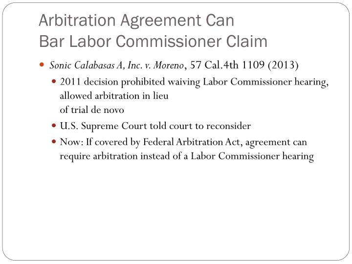 Arbitration Agreement Can