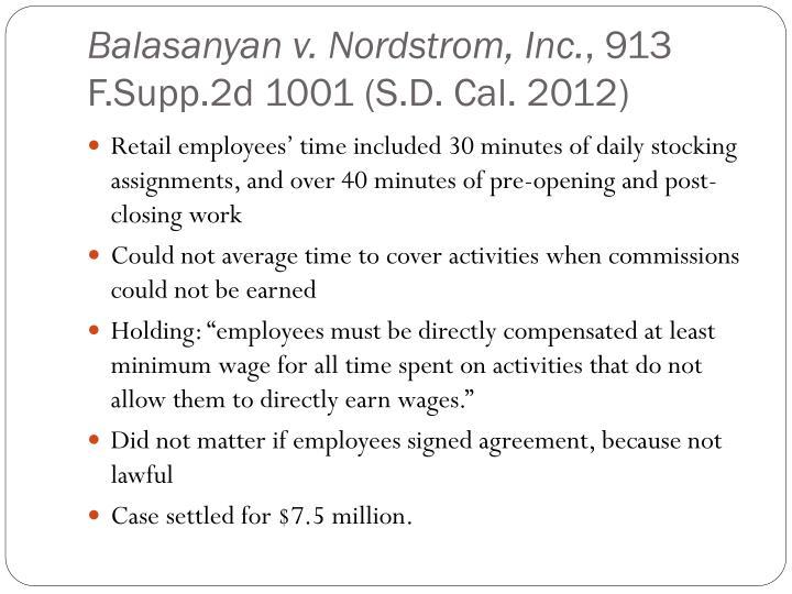 Balasanyan v. Nordstrom, Inc.