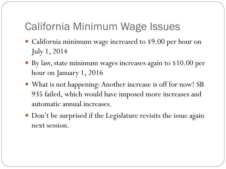 California Minimum Wage Issues