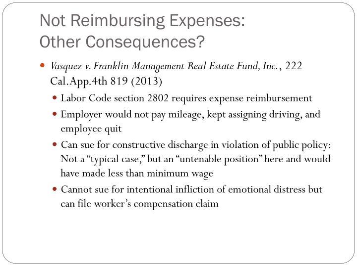 Not Reimbursing Expenses: