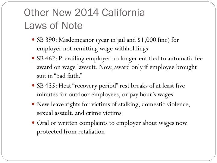 Other New 2014 California