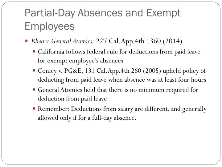 Partial-Day Absences and Exempt Employees