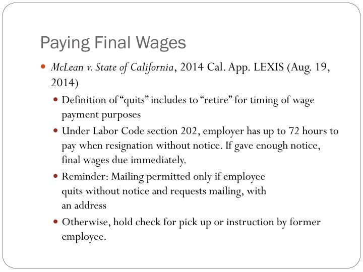 Paying Final Wages