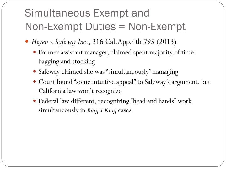 Simultaneous Exempt and