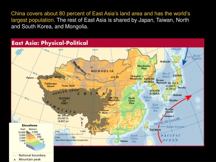 China covers about 80 percent of East Asia's land area and has the world's largest population