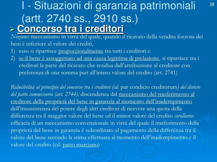 I - Situazioni di garanzia patrimoniali
