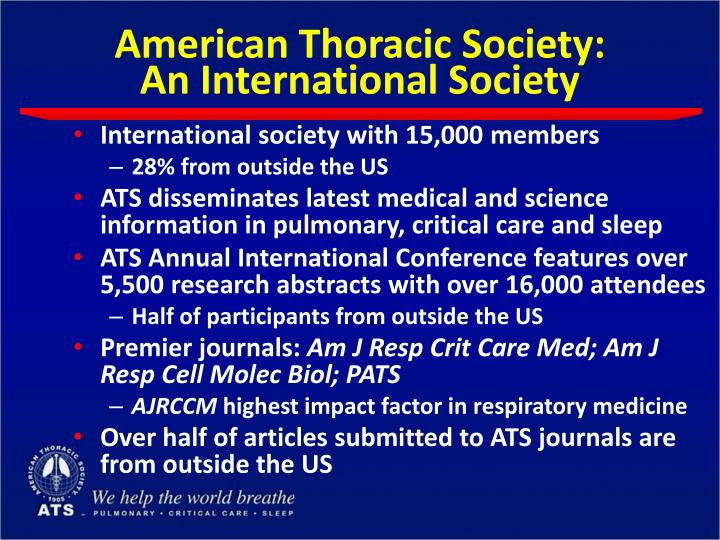 American thoracic society an international society