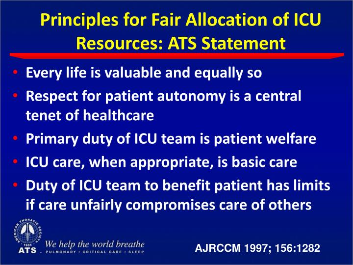 Principles for Fair Allocation of ICU Resources: ATS Statement