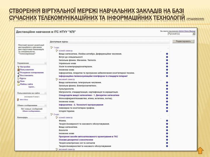 Створення віртуальної мережі навчальних закладів на базі сучасних телекомунікаційних та інформаційних технологій