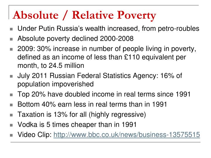 Absolute / Relative Poverty