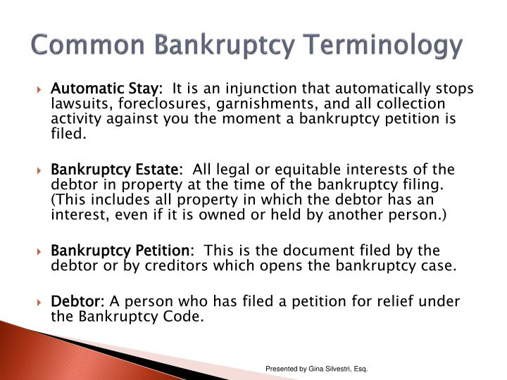 Common bankruptcy terminology