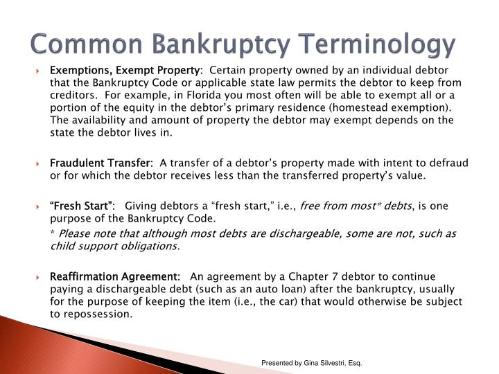 Common bankruptcy terminology1