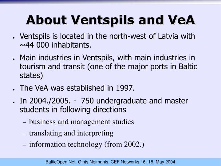 About ventspils and vea
