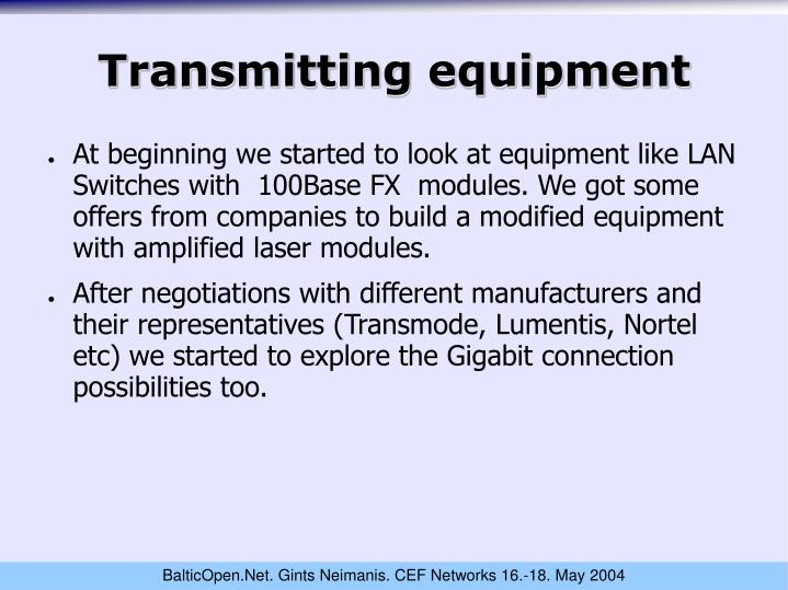 Transmitting equipment