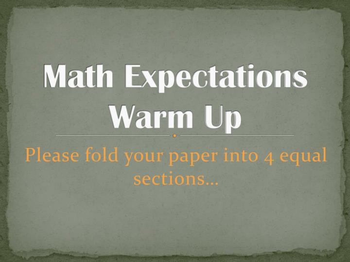 Math expectations warm up