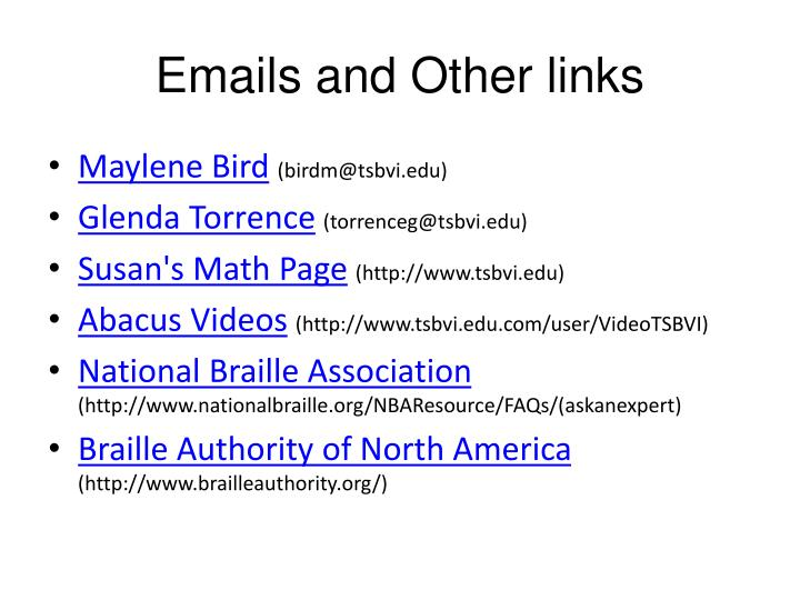 Emails and Other links