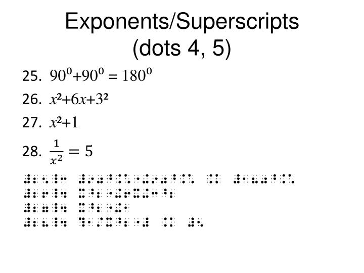 Exponents/Superscripts