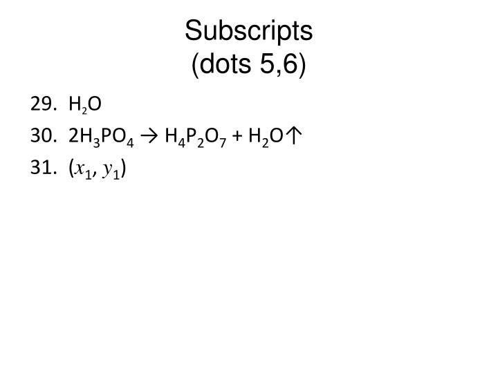 Subscripts