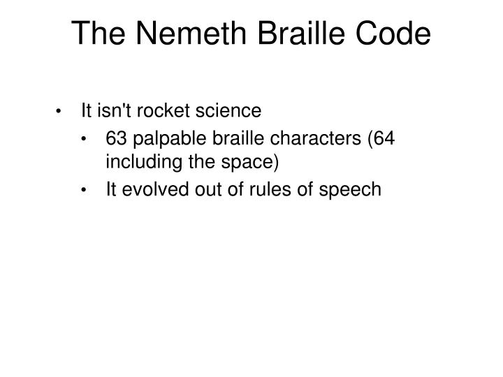 The Nemeth Braille Code