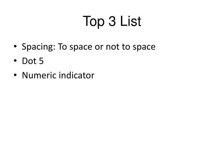 Top 3 List