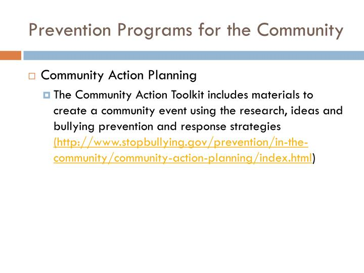 Prevention Programs for the Community