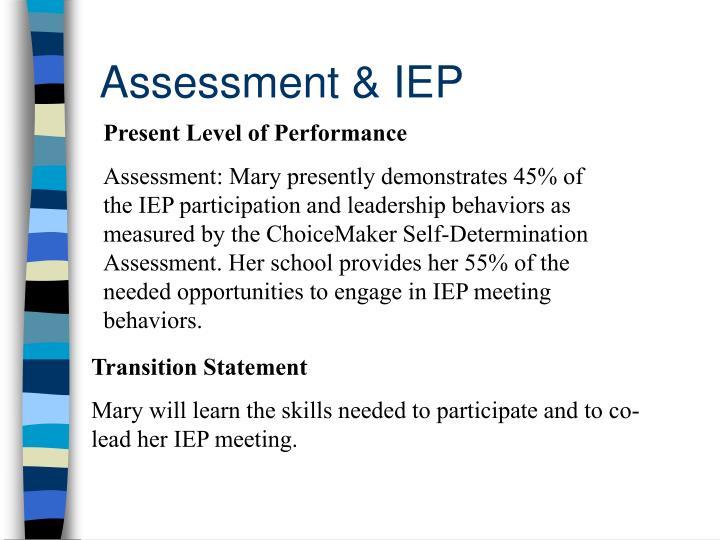 Assessment & IEP
