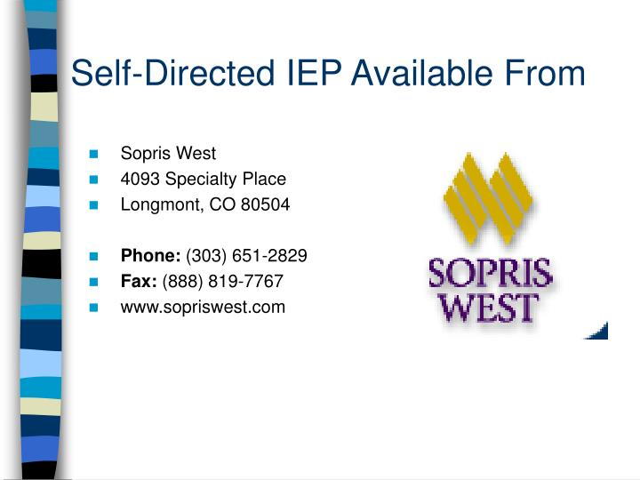 Self-Directed IEP Available From