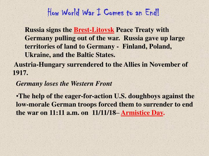 How World War I Comes to an End!
