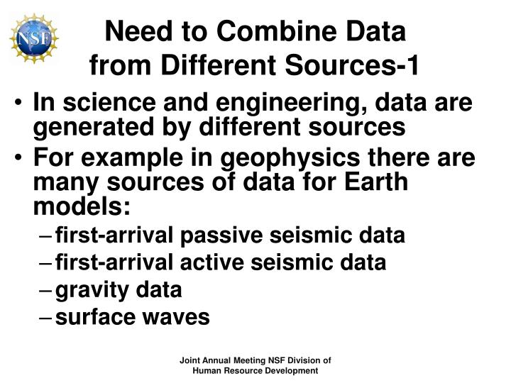 Need to combine data from different sources 1