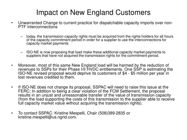 Impact on New England Customers